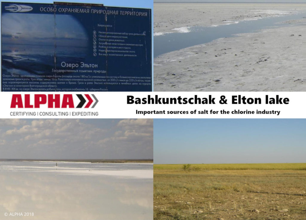 Bashkuntschak and Elton lakes are an important source of salt for the chlorine industry.
