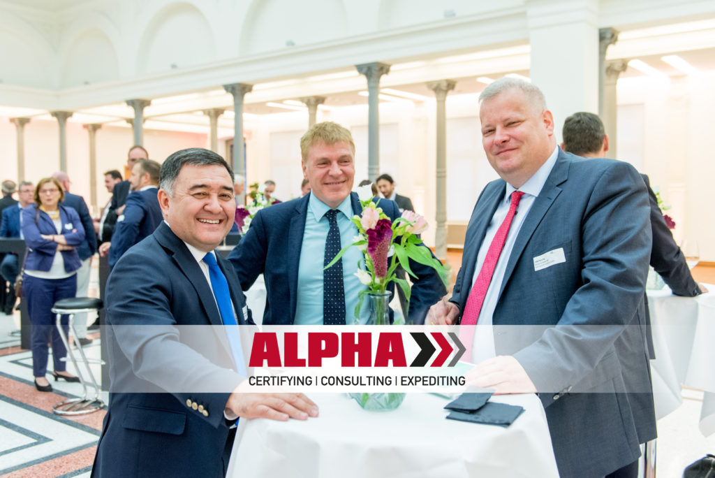The Uzbek ambassador to Germany, Mr. Nabijon Kasimov, CEO of ALPHA and member of the German-Uzbek Economic Counsil, Thomas Krause, and CEO of Deutsche Kabel AG and Vice President of the German-Uzbek Economic Counsil, Falk Porsche, left to right. (c) OAOEV Berlin